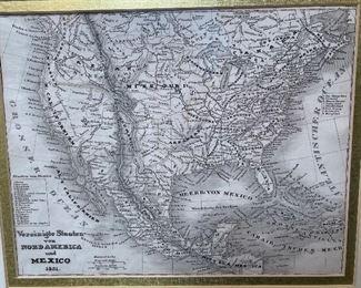 Framed Antique Map Print America  #215x17.5in
