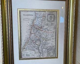 Framed Antique Map Print Palaestina17.5x15in
