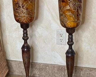 2pc Candle Stands Glass & Metal31in H