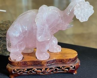 Chinese Hand Carved Rose Quartz Elephant5.5x3x6in