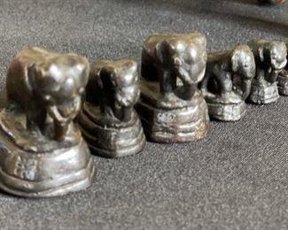 6pc Cast Iron ElephantsTallest: 1.5in