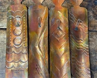 4pc Dona Calles Hammered Copper Ancestors18in Long