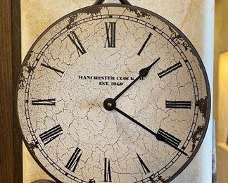 Manchester Clock co Wrought Iron Pendulum Clock31x12x2.5inHxWxD