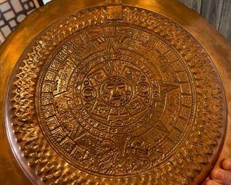 Copper Repoussé  Aztec Wall Platter16in Diameter