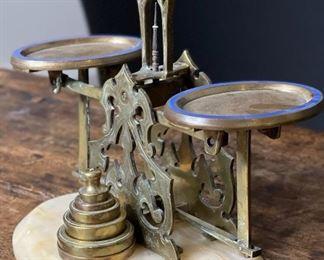 Antique Alabaster Postal Balance Scale John Bagshaw & Sons7x7.5x4inHxWxD