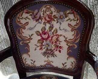 Antique Floral Tapestry Chair French Louis XV Style34x24x21inHxWxD