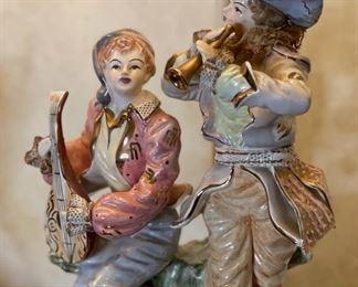 2pc Antique Porcelain Figural Lamps PAIR31in H x 16in Diameter