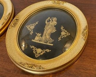 2pc Antique Convex framed Figural Cameo PAIR12x10.5in