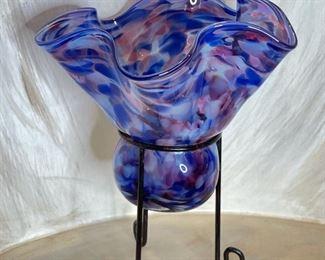 Garcia Art Glass Pedestal Vase8in H x 6.5 in Diameter