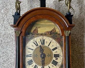 Antique Zaandam Dutch Friesian Clock Ships/Sea/Mermaid46x13x8inHxWxD