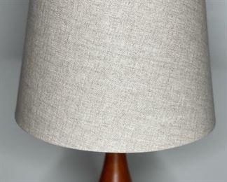 Contemporary Ceramic & Wood Lamp Turquoise31H x14in diameter
