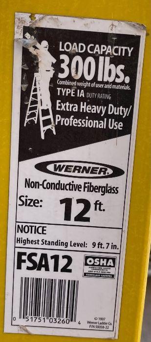 Werner 12ft Fiberglass Ladder FSA1212ft