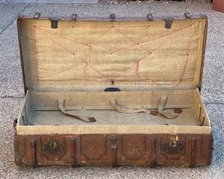 Friedrich Mink Antique German Immigrant Steamer Trunk Suitcase13x23x41inHxWxD