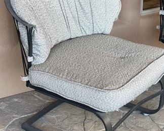 2pc Wrought Iron Mesh Patio Chairs