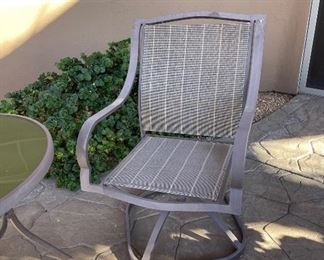 Outdoor patio table & 2 chairs table 27in diameter 28in tallChairs 25in x 25in x 38in