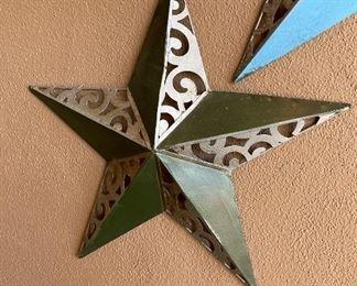 Medium green & metal colored star outdoor wall art Decor23in diameter