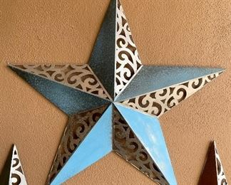 Large blue and metal colored star outdoor wall art decor28in diameter