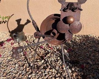Rustic yard art Decor dog lifting leg20in. X 28in