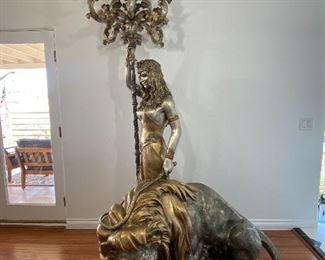 Massive bronze lady lamp and lion