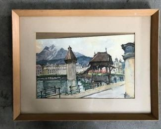 Watercolor painting of scene in France