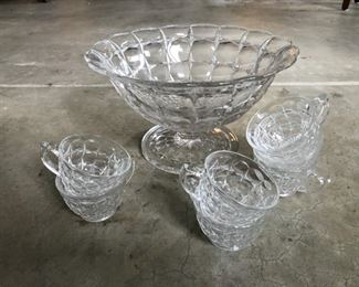 Vintage Fosteria-style glass punch bowl with six cups