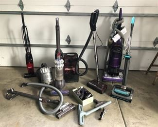 From left to right: Eureka QuickUp, Dyson DC 50 (SOLD), Dyson DC 39, Hoover Powermax, Fantom FC285H Commercial Vacuum & Bissell A22 Model 1984/2144