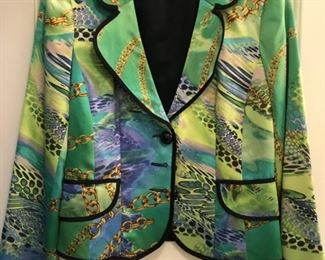 Size 6 Alberto Makali silk blazer. One of our favorites from more than 100 pieces of designer clothing and coats in sizes S, M & L and Size 2 - 10