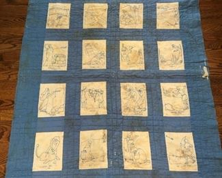 "Antique biblical quilt. There are some holes and some stains. Measures 70"" x 42"""