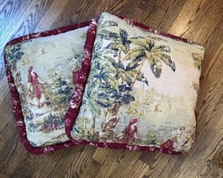 "Set of two custom made pillows in tapestry fabric with red trim measures 20"" x 20"""
