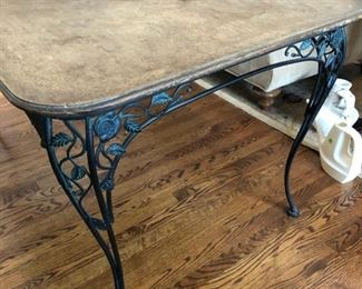 "Antique Woodard Chantilly Rose outdoor wrought iron dining table with wood top. Measures 68"" long with extension. It's 38"" wide"