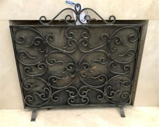 "Metal scroll fireplace screen. ""Screen"" measures 37"" wide and 27"" tall"