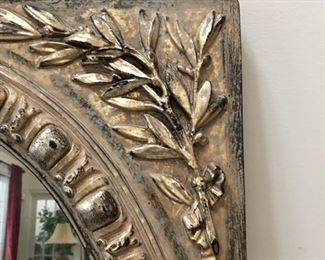 "Frame detail of gold LaBarge mirror.  Measures 35"" H x 31"" W"