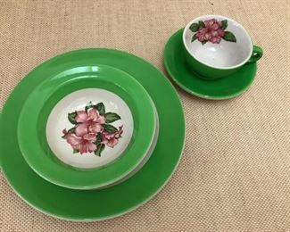 Greenbrier Hotel China. Dorothy Draper for Mayer China Company. Green Rhododendron. Two sets available