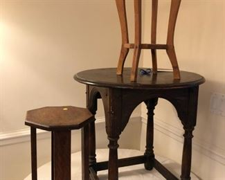 "From left to right: 18"" tall side table with 11"" diameter, 24"" tall side table with 23"" diameter and 17 1/2"" tall side table with 11"" diameter"