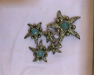 Heidi Daus starfish with Swarovski crystals and pearls - pin and earrings.