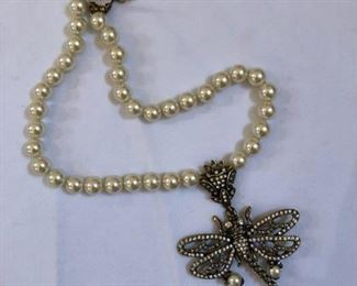 Vintage Heidi Daus freshwater pearl necklace with dragon fly pendant