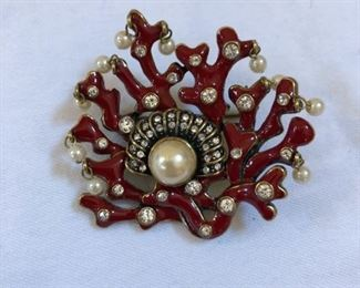 Vintage Heidi Daus fire coral broach with mother of pearl and faux diamond details