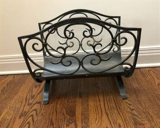 Metal scroll fireplace wood holder