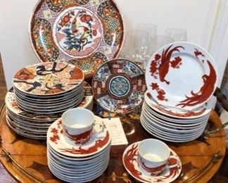 Imari large and small decorative plates, vintage Neiman Marcus Red Peking salad plates (12), cups & saucers (12) and bread plates (12).  Andrea Sadek Classic Imari dinner  (8) and salad plates (8)
