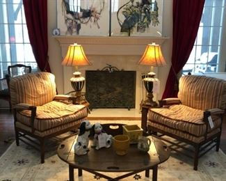 Two Calico Corners chairs, vintage Hickory Chair Butler's table, 9' x 12' Mansehra (Pakistan) rug, Staffordshire-style dogs, assorted pottery, pair of table lamps.  See next picture for better look at rug