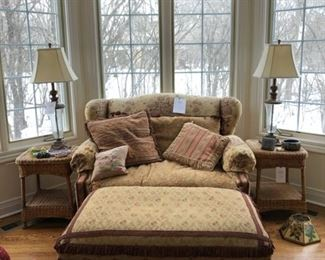 "Carol Hicks Bolton love seat and ottoman measures 50"" W x 44"" D x 37"" H, wicker side tables, pair of table lamps"