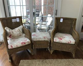 Wicker rocker, arm chair and ottoman