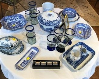 Spode Blue Italian serving pieces, Mexican Glassware blue cobalt rim glasses, silver-plate napkin rings, Royal Staffordshire Sauce Boat with Lid and under plate