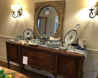 "Antique sideboard measures 65"" W x 37"" H x 23"" D (SOLD), LaBarge mirror (see next picture for mirror frame detail), vintage Royal Copenhagen Tranquebar Blue dinner and chop plates, platters and serving bowls, blue & white table cloth, antique blue and white pitcher, flint boxes from Ming Dynasty"
