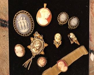 Cameo pins, earrings and bracelets