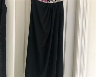 Strapless beaded evening gown with mid-thigh side slit.  Size 10. One of our favorites from more than 100 pieces of designer clothing and coats in sizes S, M & L and Size 2 - 10