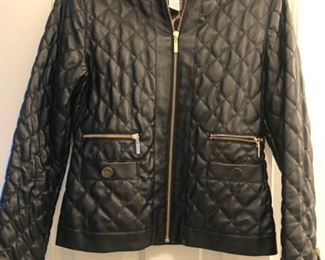 Mona Leah vegan leather front sip quilted jacket. Size S. One of our favorites from more than 100 pieces of designer clothing and coats in sizes S, M & L and Size 2 - 10