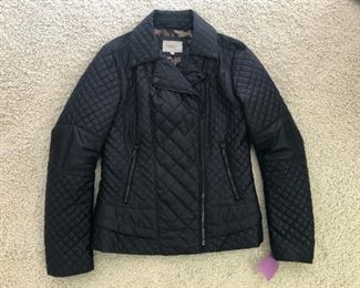 Quilted black jacket. Laundry by Shelli Segal. Size M. One of our favorites from more than 100 pieces of designer clothing and coats in sizes S, M & L and Size 2 - 10