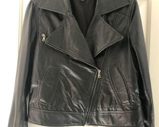 Kenna - T Leather Moto Jacket. Size M. One of our favorites from more than 100 pieces of designer clothing and coats in sizes S, M & L and Size 2 - 10