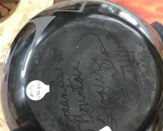 Signed Jeannie Mountain Flower Dunlap black bowl. Picture 2 of 2